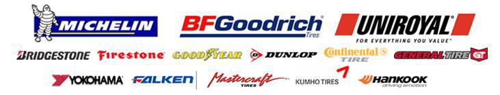 We proudly carry tires from Michelin®, BFGoodrich®, Uniroyal®, Bridgestone, Firestone, Goodyear, Dunlop, Continental, General Tire, Yokohama, Falken, Mastercraft, Kumho, and Hankook.