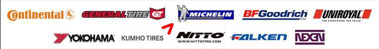 We carry products from Continental, General, Michelin®, BFGoodrich®, Uniroyal®, Yokohama, Kumho, Nitto, Falken, and Nexen.