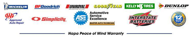 We proudly offer products from Michelin®, BFGoodrich®, Uniroyal®, Goodyear, Kelly, Dunlop, Simplicity, and Interstate Batteries. We are an AAA-approved auto repair facility and our technicians are ASE-certified. We offer the NAPA Peace of Mind Warranty.
