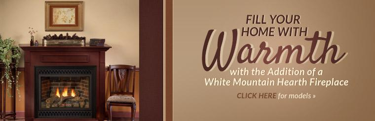 Fill your home with warmth with the addition of a White Mountain Hearth fireplace!