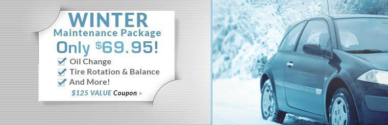 Get our Winter Maintenance Package for only $69.95! This offer includes an oil change, a tire rotation and balance, and more! Click here to print the coupon.