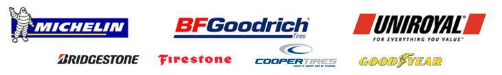 We proudly carry products from Michelin®, BFGoodrich®, Uniroyal®, Bridgestone, Firestone, Cooper, and Goodyear.