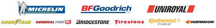 We proudly carry tires from Michelin®, BFGoodrich®, Uniroyal®, Goodyear, General, Bridgestone, Firestone, Continental, and Hankook.