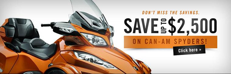 Save up to $2,500 on Can-Am Spyders!