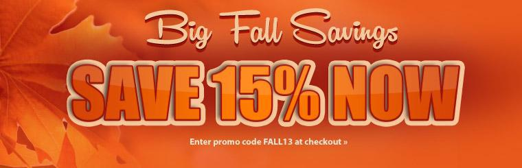 Save 15% when you enter promo code FALL13 at checkout! Click here to shop online.