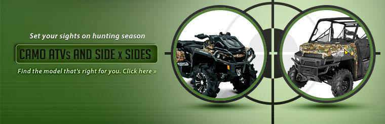 Set your sights on hunting season with camo ATVs and side x sides! Click here to find the model that's right for you.