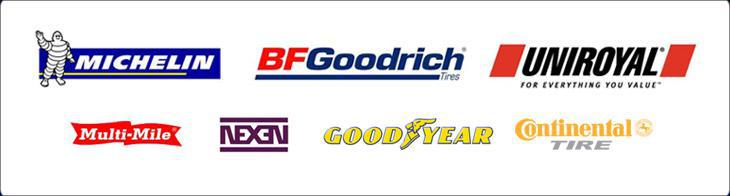 We carry products from Michelin®, BFGoodrich®, Uniroyal®, Multi-Mile, Nexen, Goodyear, and Continental.