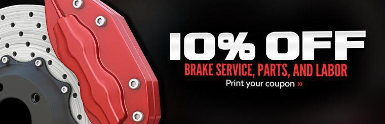 Click here for your coupon to save 10% on brake service, parts, and labor.