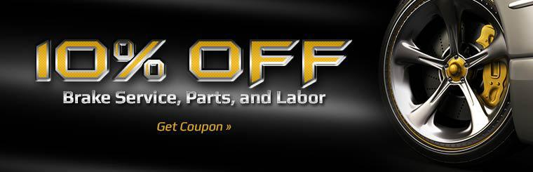 Get 10% off brake service, parts, and labor!