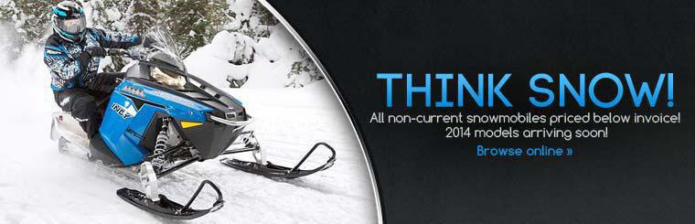 All non-current snowmobiles are priced below invoice! The 2014 models are arriving soon!