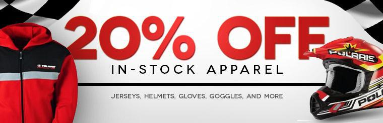 20% Off In-Stock Apparel: Click here to browse jerseys, helmets, gloves, goggles, and more.
