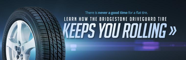 There is never a good time for a flat tire. Click here to learn how the Bridgestone DriveGuard tire keeps you rolling.