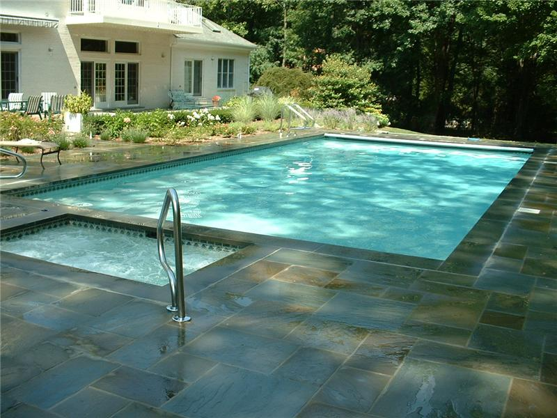 Rectangle Pool With Spa 20'x40' rectangle pool with attached spa aqua-pro swimming pool