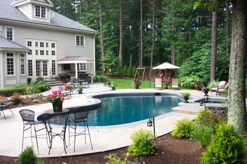 Gunite Mountain Lake With Spa Raised Beam With Spa And Waterfall Colored  (gray) Plaster