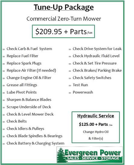 Zero-Turn Tune-Up Evergreen Power, LLC Kaukauna, WI (920) 372-8999