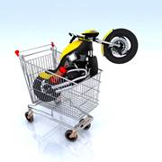 Motorcycle in cart