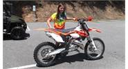Haley is looking forward to tearing up some trails and having lots of FUN on her new KTM 150XC