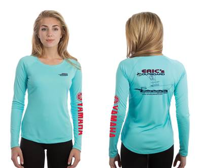 Water Blue Ladies Crew Neck Performance Long Sleeve