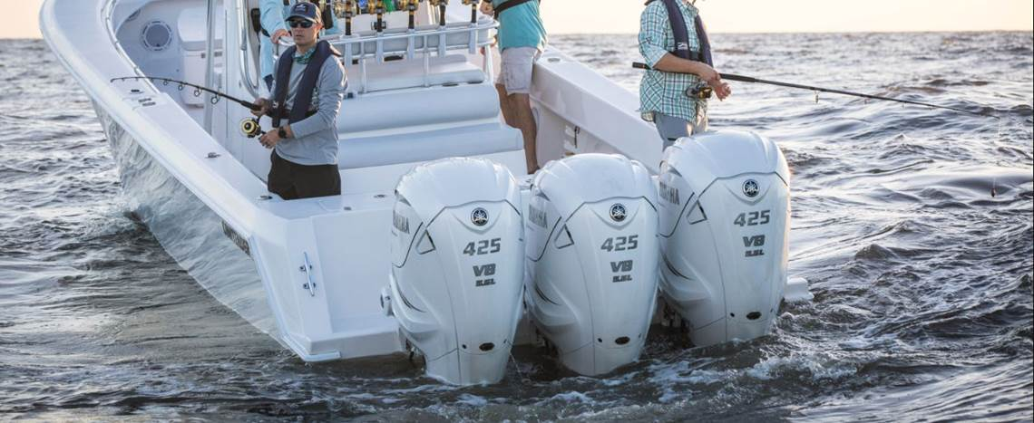 Three 2019 Yamaha 425 XTO Offshore Outboard Motors