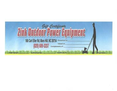 Zink Outdoor Power Equipment Gift Certificate
