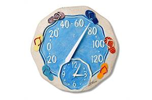 "12"" Sandals Thermometer with Clock"