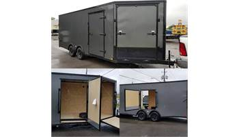 2020 8.5X20 Blacked Out Enclosed Car Hauler With Front And Rear Ramp Door