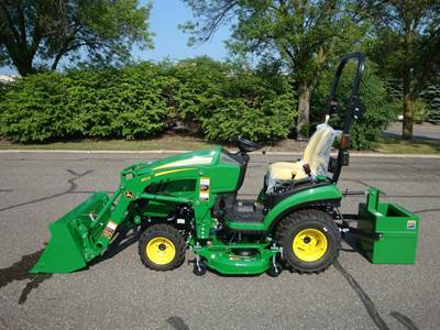 1025R with 120R Loader, Ballast Box & 54D Mower Deck