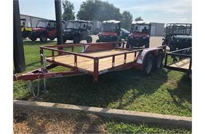 "77"" x 14' double axle utility with dove tail and 3 ft gate"