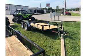 "77"" x 14' double axle utility with trailer brakes and 4ft gate"
