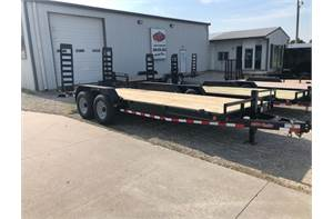 "83"" x 20' 14k equipment trailer w/ 2ft dove tail and fold down ramps"