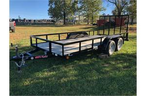 "77"" x 16' tandem axle utility trailer with ramp gate"
