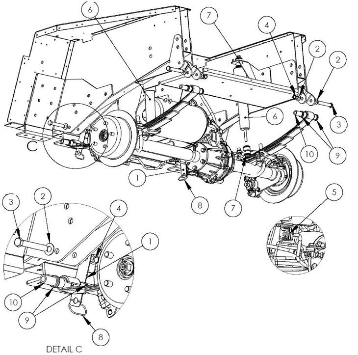 Axle mounting 2005 to date