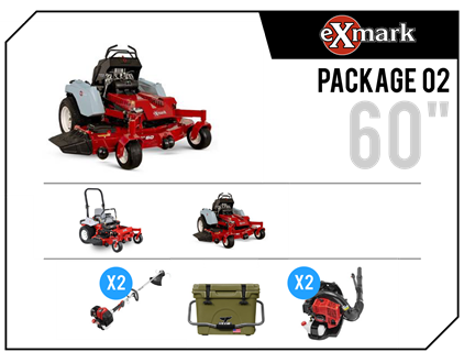 "2019 Exmark ""Fleet 02"", 2 Staris Stand-on, Lazer E, Trimmers & Blowers"