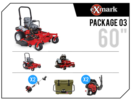 "2019 Exmark ""Fleet 03"", 2-Lazer X Riders, Staris Stand-on, 2-Trimmers & 2-Blowers"