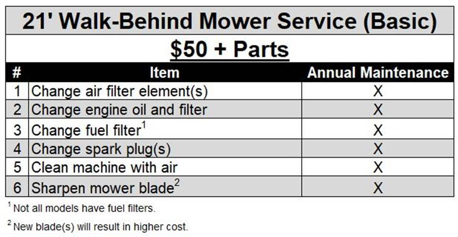 21 Walk-Behind Mower Service (Basic)