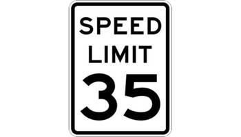 35 M.P.H. Speed Limit Sign