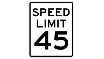 45 M.P.H. Speed Limit Sign