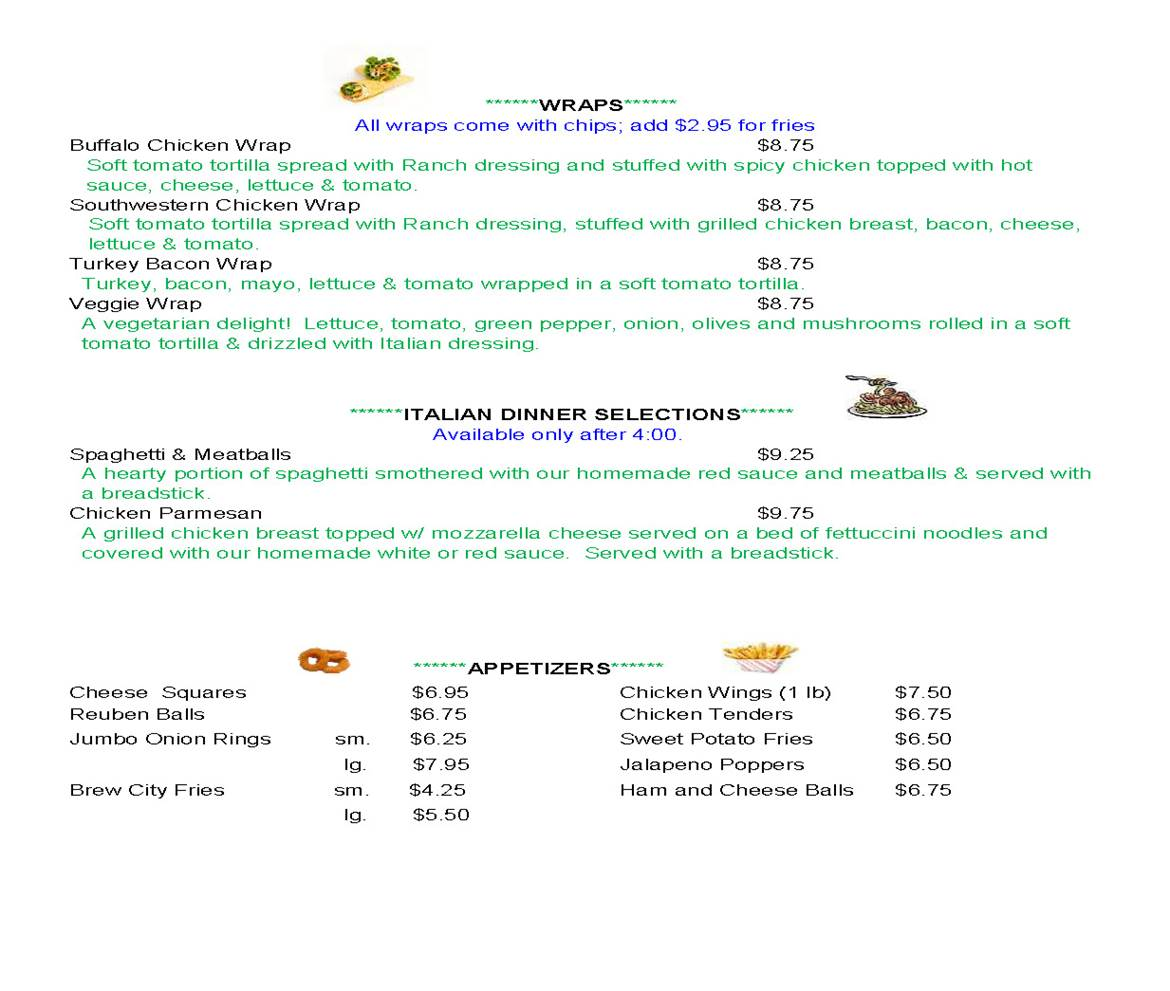 The Fall Inn Bar & Grill Menu - Page 3