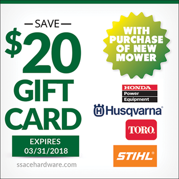 20 dollar gift card with mower purchase