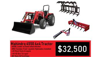 Package Deal #4 - 4550 4x4 Tractor w/ Loader, 6ft Grapple. 7ft Box Blade, 8ft Rake & 3rd Function