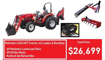 Package Deal #5 - 1626 HST Tractor w/ Loader, Backhoe, 5ft Box Blade, 6ft Rake & Ballast Box