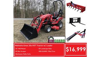 Package Deal #7- emax 20s HST Tractor w/ Loader, Mid mower, 5ft Rake, 4FT Box & Forks
