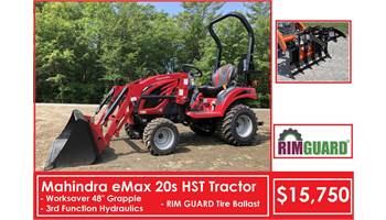 "Package Deal #9 - Emax 20s HST Tractor w/ Loader, 48"" Grapple, 3rd Function & Ballast"