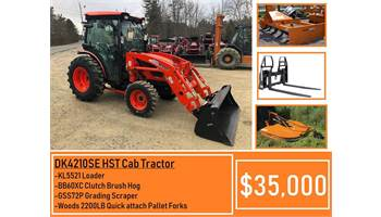 "Package Deal #13 - Kioti DK4210SE HST CAB Tractor, Loader, 72"" Grading Scraper, Forks & Brush Hog"
