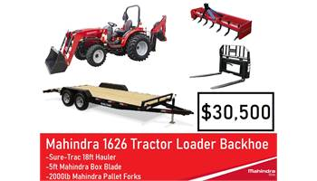 Package Deal #11 - Mahindra 1626 TLB, box blade, pallet forks, Trailer