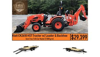 Package Deal #3 - CK2610 HST Tractor w/ Loader Backhoe & Sure Trac 7x16 Car Hauler