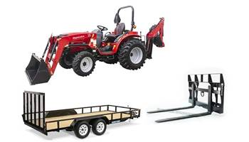 Mahindra Package Deal #1 - 1626 Tractor w/ Loader Backhoe & Pallet Forks & 7x16ft Trailers