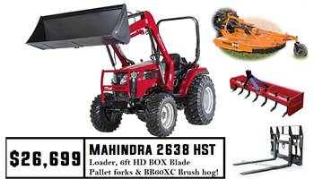 Mahindra Package Deal #2 - 2638 HST Tractor w/ Loader & Pallet Forks & HD 6FT Box Blade & BB60XC Cut