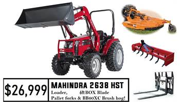 Mahindra Package Deal #2 - 2638 HST Tractor w/ Loader & Pallet Forks & 6FT Box Blade & BB60X Cutter
