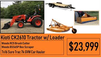 "Kioti Package Deal #6 - Kioti CK2610 Tractor w/ Loader & 5ft Brush hog, 65"" Box scraper & 16ft Car H"